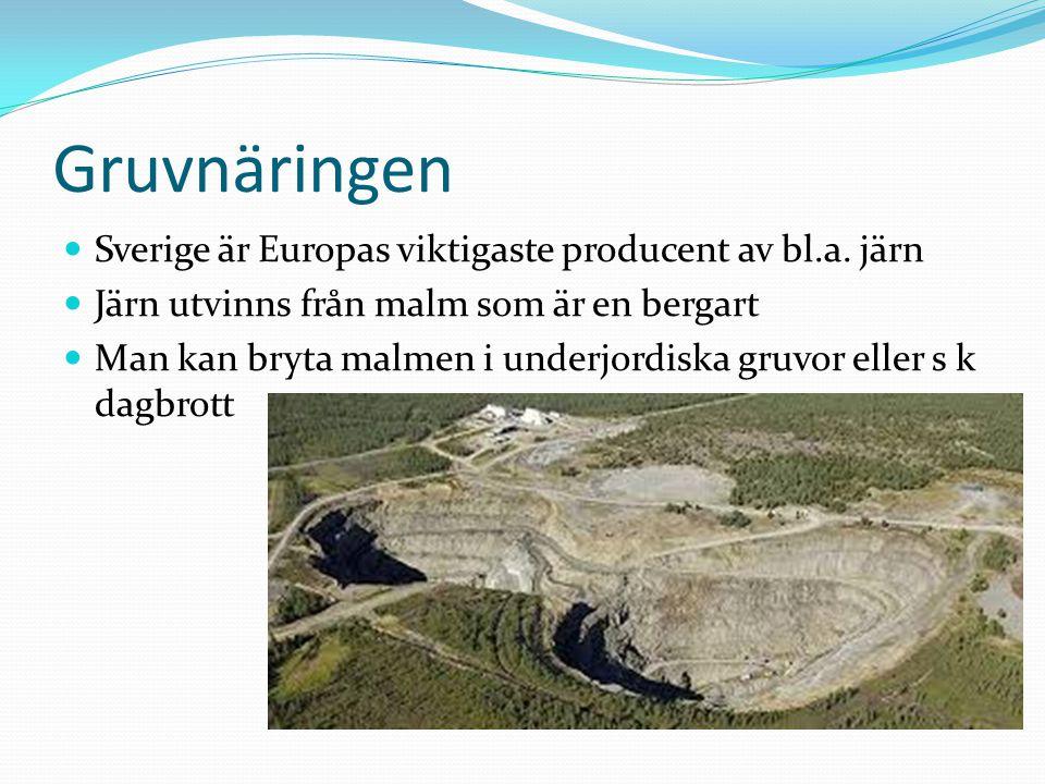 Gruvnäringen Sverige är Europas viktigaste producent av bl.a. järn Järn utvinns från malm som är en bergart Man kan bryta malmen i underjordiska gruvo