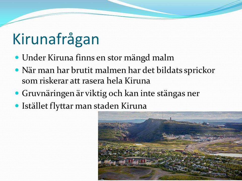 Kirunafrågan Under Kiruna finns en stor mängd malm När man har brutit malmen har det bildats sprickor som riskerar att rasera hela Kiruna Gruvnäringen