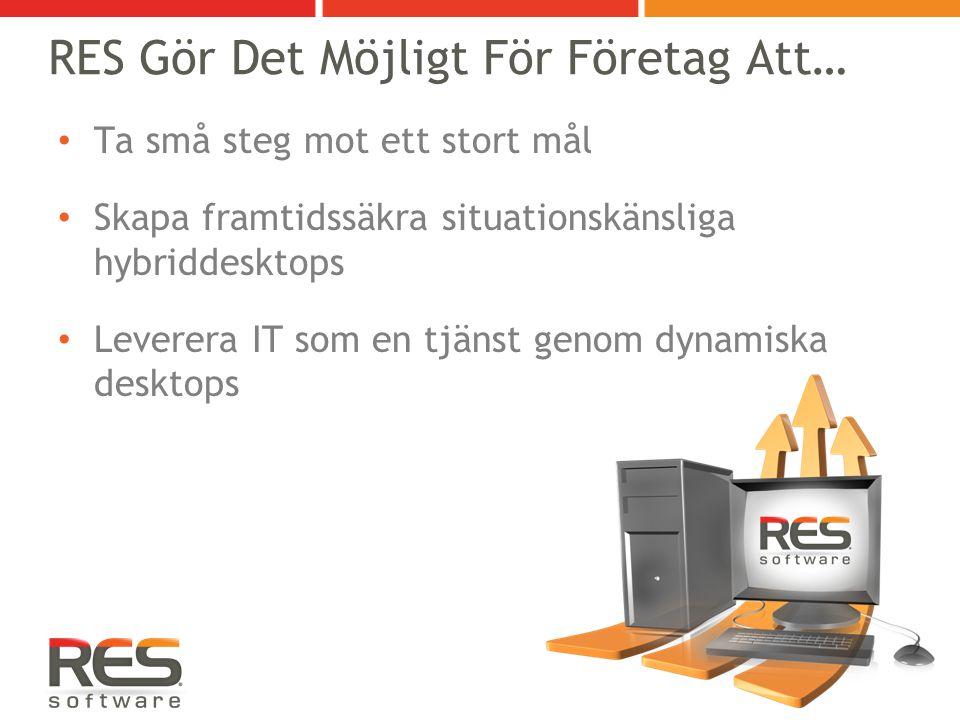 RES Gör Det Möjligt För Företag Att… Ta små steg mot ett stort mål Skapa framtidssäkra situationskänsliga hybriddesktops Leverera IT som en tjänst genom dynamiska desktops