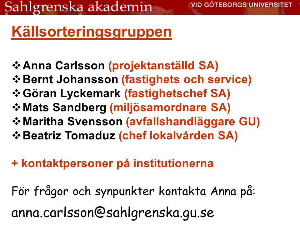 Källsorteringsgruppen  Anna Carlsson (projektanställd SA)  Bernt Johansson (fastighets och service)  Göran Lyckemark (fastighetschef SA)  Mats San