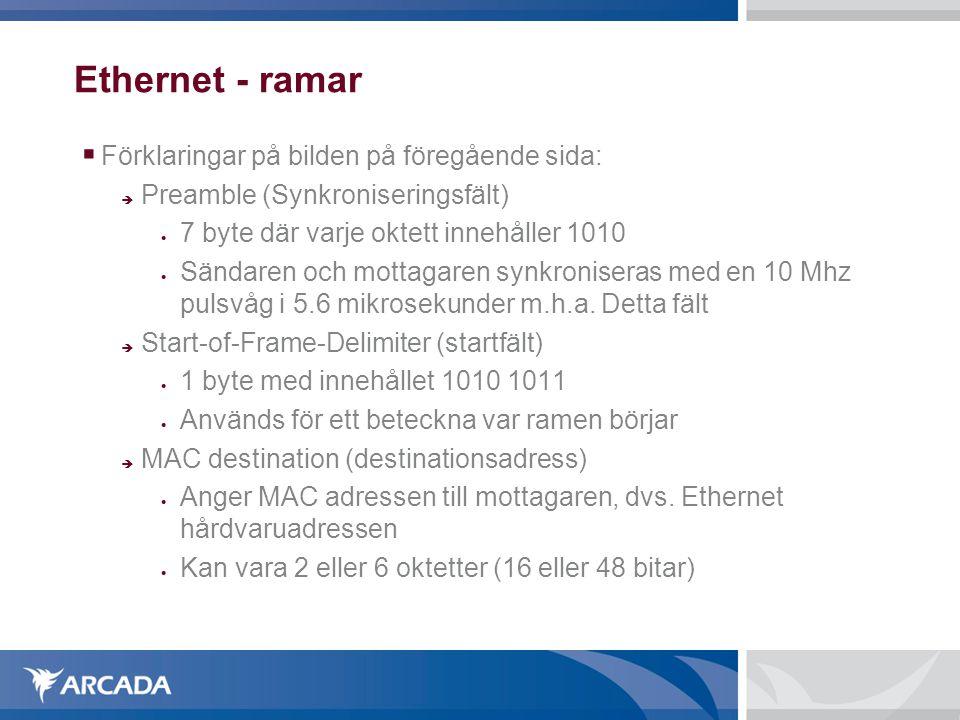 Ethernet - ramar  Förklaringar på bilden på slide 22 forts...:  MAC source (källadressen)  Anger adressen till avsändaren  2 eller 6 oktetter lång  den första biten om adressen är ordinär eller en gruppadress  Den andra biten anger om adressen är lokal eller global (Gäller både MAC source och MAC destination)  De övriga 46 bitarna kan användas för adressering (Gäller både MAC source och MAC destination)  Length  Anger hur många byte själva datafältet innehåller
