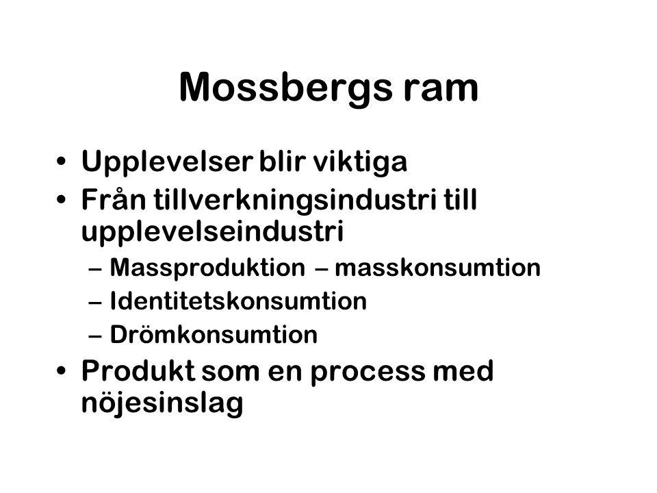 Mossbergs ram Upplevelser blir viktiga Från tillverkningsindustri till upplevelseindustri –Massproduktion – masskonsumtion –Identitetskonsumtion –Dröm