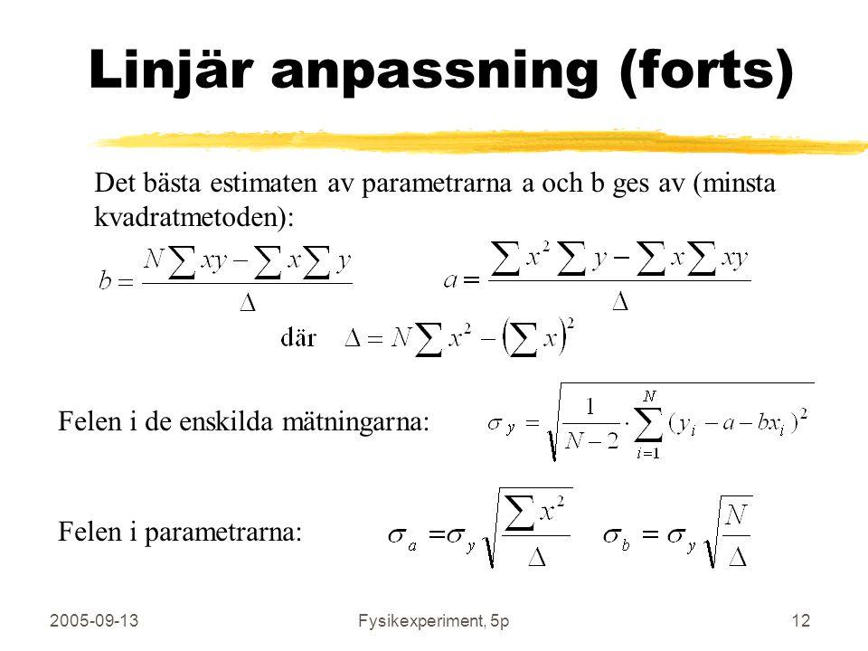 2005-09-13Fysikexperiment, 5p12 Linjär anpassning (forts) Det bästa estimaten av parametrarna a och b ges av (minsta kvadratmetoden): Felen i de enski