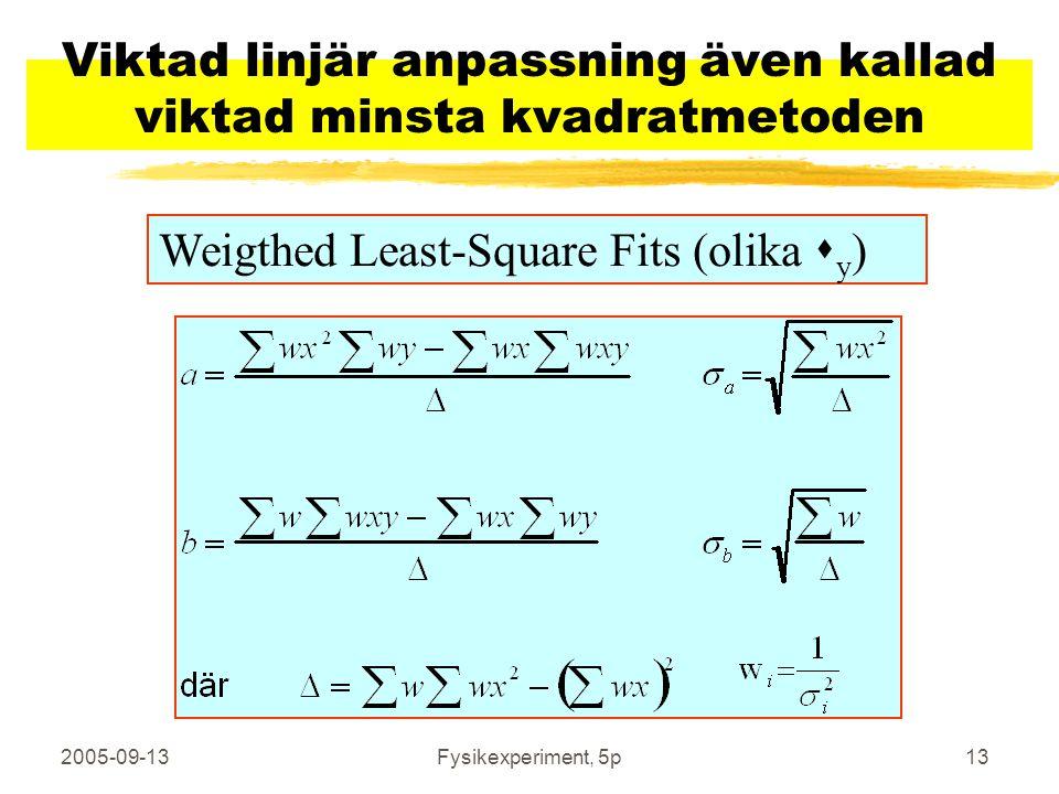 2005-09-13Fysikexperiment, 5p13 Viktad linjär anpassning även kallad viktad minsta kvadratmetoden Weigthed Least-Square Fits (olika  y )