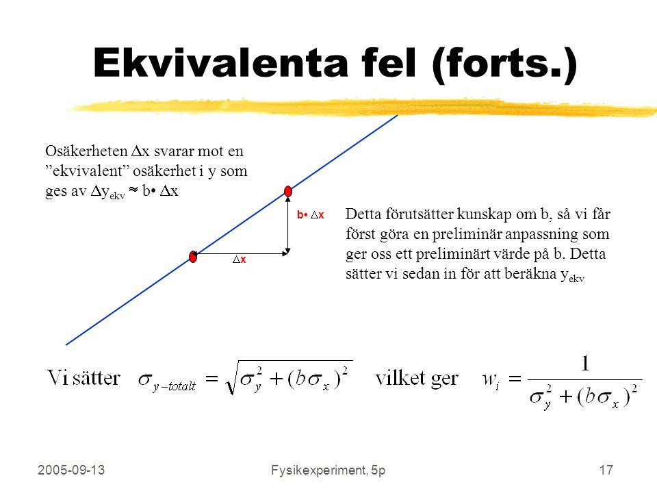 "2005-09-13Fysikexperiment, 5p17 Ekvivalenta fel (forts.) Osäkerheten  x svarar mot en ""ekvivalent"" osäkerhet i y som ges av  y ekv  b  x xx b "