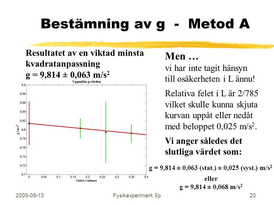 2005-09-13Fysikexperiment, 5p20 Bestämning av g - Metod A Resultatet av en viktad minsta kvadratanpassning g = 9,814 ± 0,063 m/s 2 Men … vi har inte t