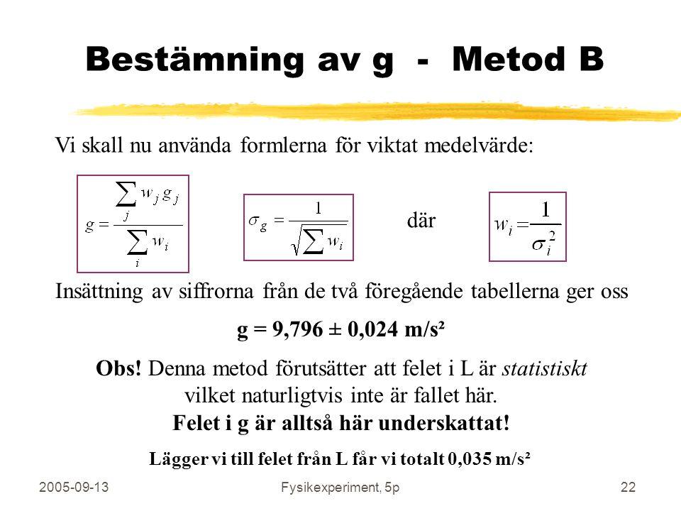 2005-09-13Fysikexperiment, 5p22 Bestämning av g - Metod B Vi skall nu använda formlerna för viktat medelvärde: där Insättning av siffrorna från de två