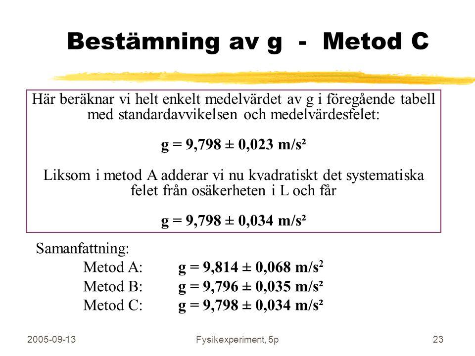 2005-09-13Fysikexperiment, 5p23 Bestämning av g - Metod C Här beräknar vi helt enkelt medelvärdet av g i föregående tabell med standardavvikelsen och