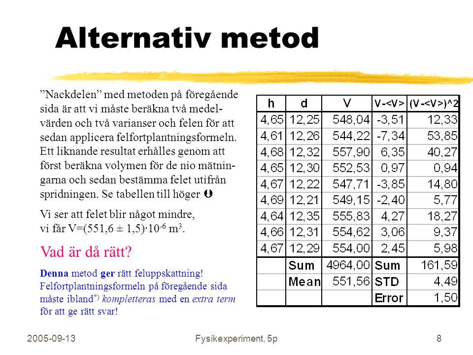 """2005-09-13Fysikexperiment, 5p8 Alternativ metod """"Nackdelen"""" med metoden på föregående sida är att vi måste beräkna två medel- värden och två varianser"""