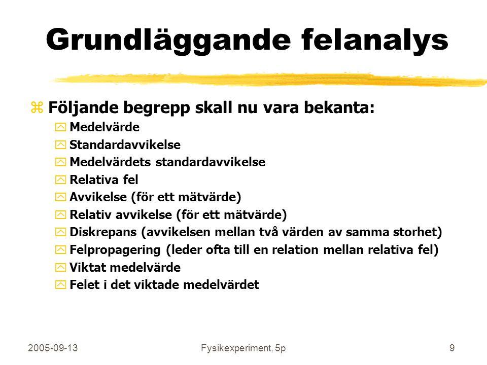 2005-09-13Fysikexperiment, 5p9 Grundläggande felanalys zFöljande begrepp skall nu vara bekanta: yMedelvärde yStandardavvikelse yMedelvärdets standarda