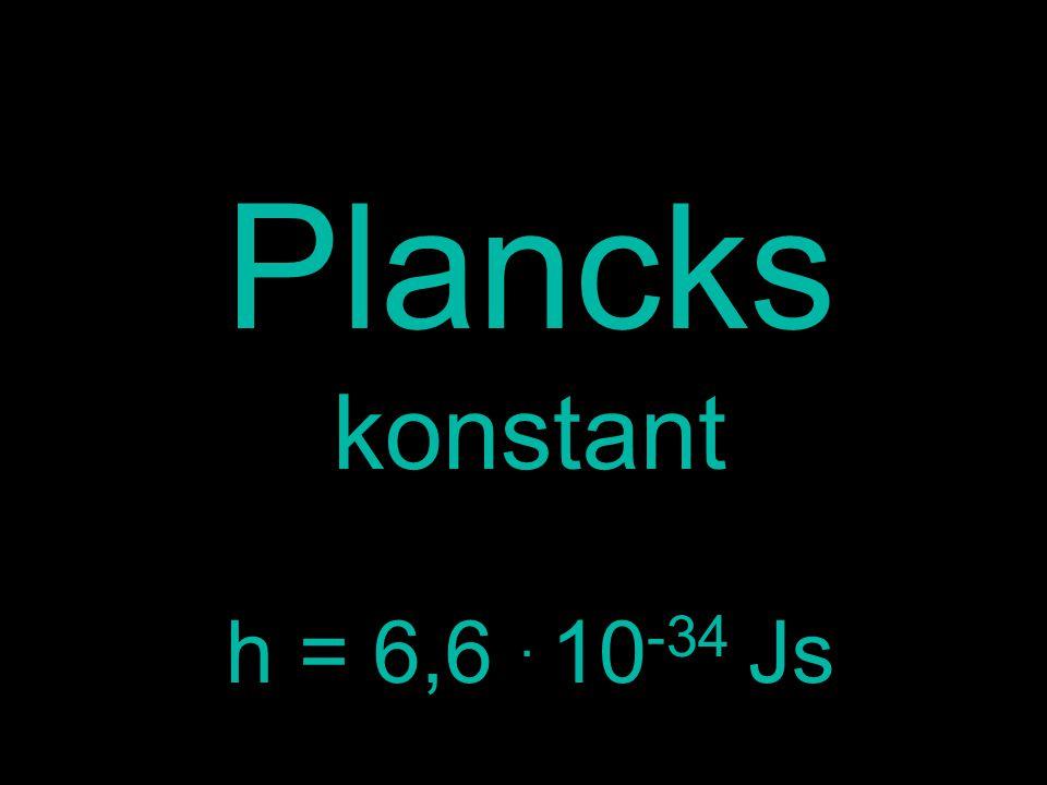 Plancks konstant h = 6,6. 10 -34 Js
