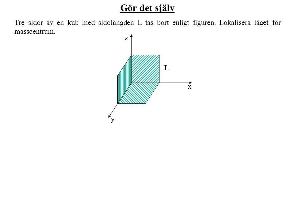 Gör det själv Tre sidor av en kub med sidolängden L tas bort enligt figuren. Lokalisera läget för masscentrum. z x y L