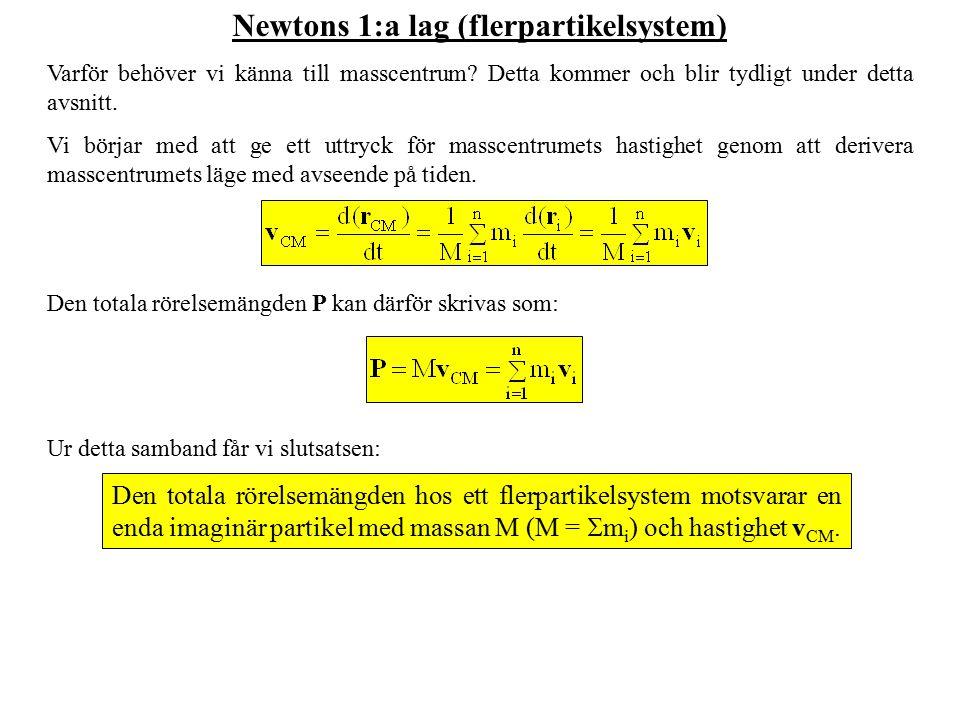 Newtons 1:a lag (flerpartikelsystem) Varför behöver vi känna till masscentrum? Detta kommer och blir tydligt under detta avsnitt. Vi börjar med att ge