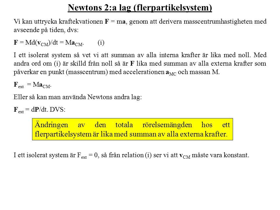 Newtons 2:a lag (flerpartikelsystem) Vi kan uttrycka kraftekvationen F = ma, genom att derivera masscentrumhastigheten med avseende på tiden, dvs: F = Md(v CM )/dt = Ma CM.(i) I ett isolerat system så vet vi att summan av alla interna krafter är lika med noll.