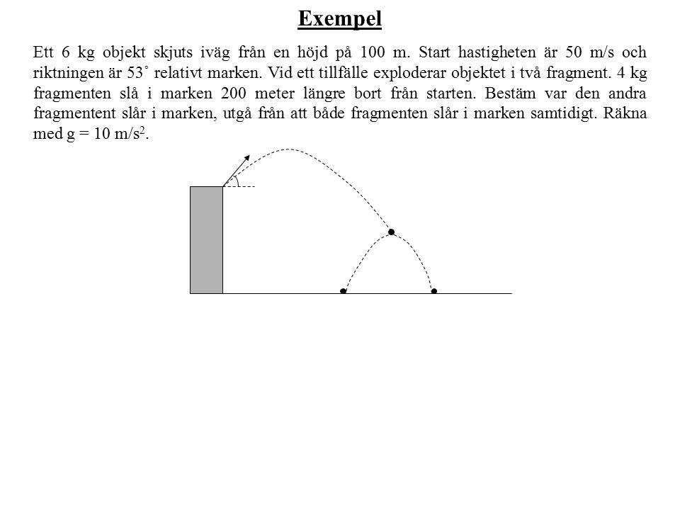 Exempel Ett 6 kg objekt skjuts iväg från en höjd på 100 m. Start hastigheten är 50 m/s och riktningen är 53˚ relativt marken. Vid ett tillfälle explod