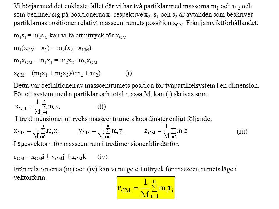 Vi börjar med det enklaste fallet där vi har två partiklar med massorna m 1 och m 2 och som befinner sig på positionerna x 1 respektive x 2.