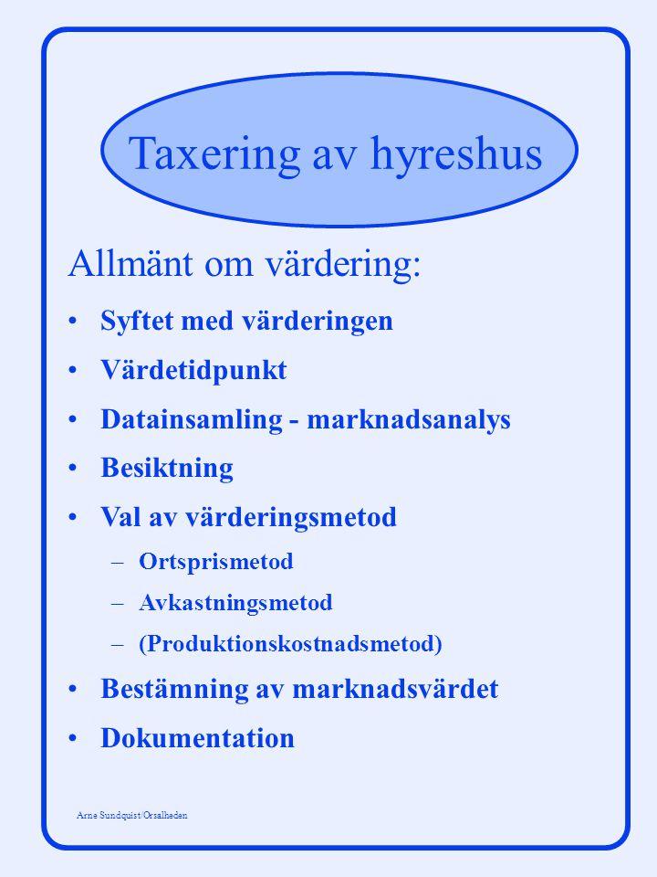 Taxering av hyreshus Arne Sundquist/Orsalheden V = Σ + (H - D - U) R (1 + p) t (1 + p) n t = 1 n t V= Fastighetsvärde H= Hyra D= Driftskostnader U= Underhållskostnader R= Restvärde n= Kalkylperiod t= Tidsvariabel p= Kalkylränta på totalt kapital, % n Diskonteringsmodell: