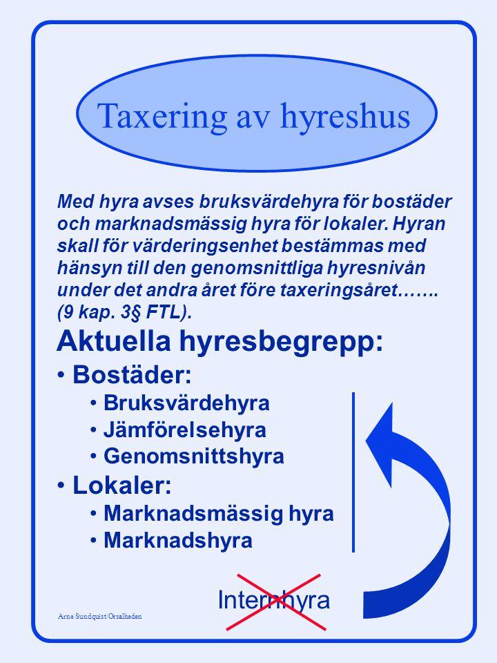 Taxering av hyreshus Arne Sundquist/Orsalheden Med hyra avses bruksvärdehyra för bostäder och marknadsmässig hyra för lokaler.