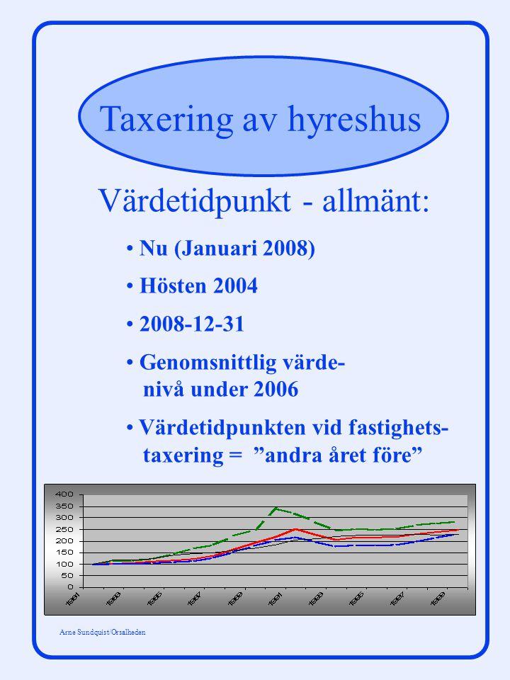 Taxering av hyreshus Arne Sundquist/Orsalheden Värdetidpunkt - allmänt: Nu (Januari 2008) Hösten 2004 2008-12-31 Genomsnittlig värde- nivå under 2006 Värdetidpunkten vid fastighets- taxering = andra året före