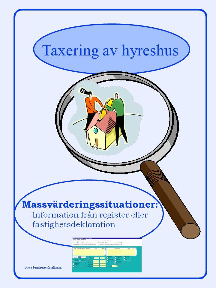 Taxering av hyreshus Arne Sundquist/Orsalheden Massvärderingssituationer: Information från register eller fastighetsdeklaration