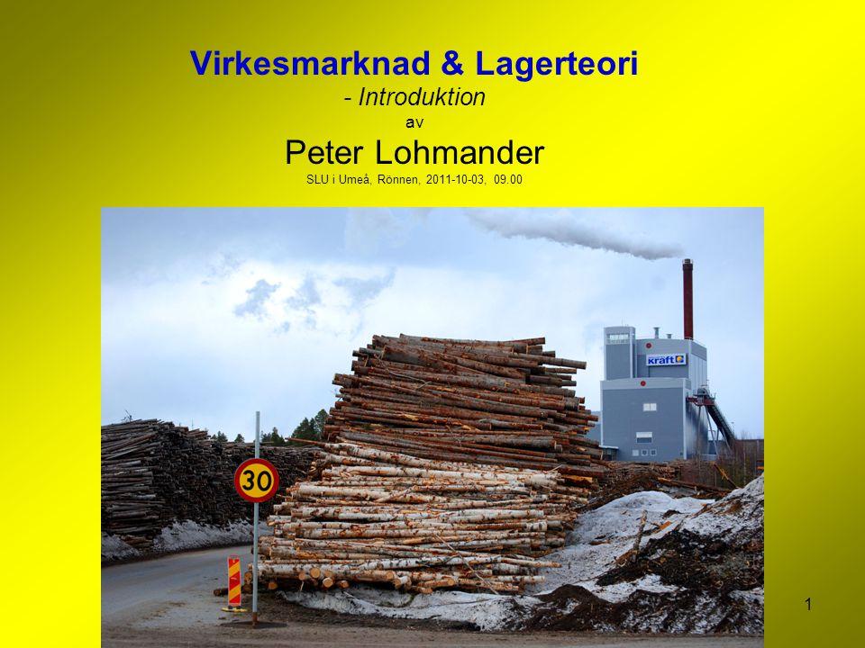 1 Virkesmarknad & Lagerteori - Introduktion av Peter Lohmander SLU i Umeå, Rönnen, 2011-10-03, 09.00