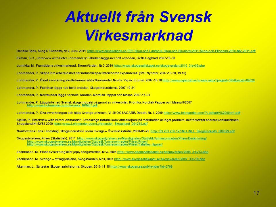 17 Aktuellt från Svensk Virkesmarknad Danske Bank, Skog 6 Ekonomi, Nr 2, Juni, 2011 http://www.danskebank.se/PDF/Skog-och-Lantbruk/Skog-och-Ekonomi/2011/Skog-och-Ekonomi-2010-Nr2-2011.pdfhttp://www.danskebank.se/PDF/Skog-och-Lantbruk/Skog-och-Ekonomi/2011/Skog-och-Ekonomi-2010-Nr2-2011.pdf Ekman, S-O., (Interview with Peter Lohmander): Fabriken läggs ner helt i onödan, Gefle Dagblad, 2007-10-30 Juntikka, M., Framtidens virkesmarknad, SkogsVärden, Nr 3, 2010 http://www.skogssallskapet.se/skogsvarden/2010_3/sv09.phphttp://www.skogssallskapet.se/skogsvarden/2010_3/sv09.php Lohmander, P., Skapa inte arbetslöshet när industrikapaciteten borde expanderas.