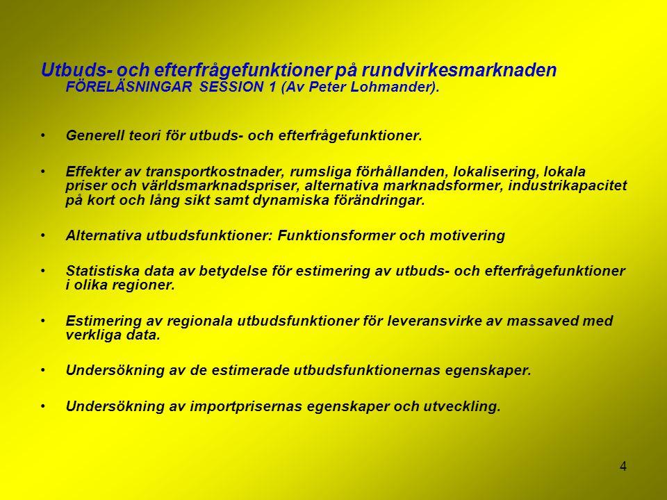 4 Utbuds- och efterfrågefunktioner på rundvirkesmarknaden FÖRELÄSNINGAR SESSION 1 (Av Peter Lohmander).