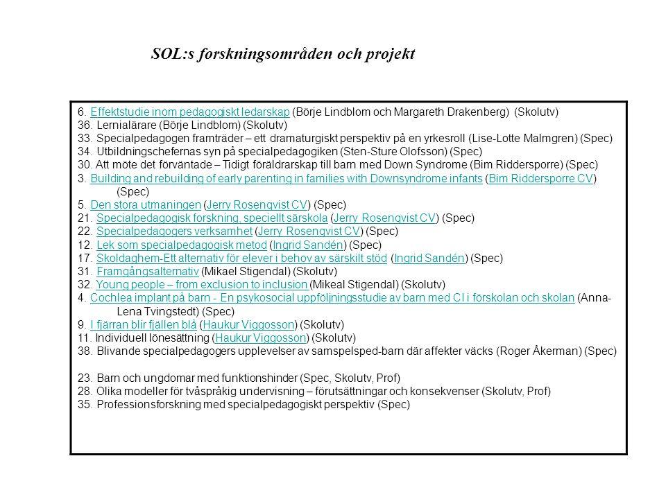SOL:s forskningsområden och projekt 6. Effektstudie inom pedagogiskt ledarskap (Börje Lindblom och Margareth Drakenberg) (Skolutv)Effektstudie inom pe