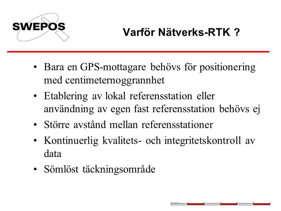 Nätverks-RTK RTK-data + beräknad modell för jonosfär, troposfär, banparametrar m.m.