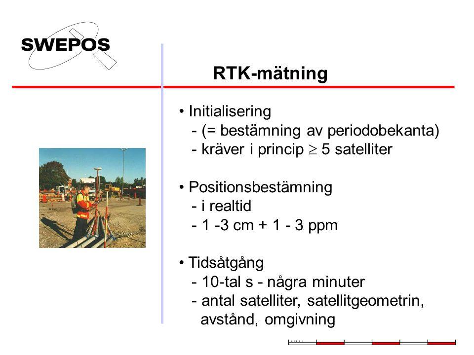 RTK-mätning Initialisering - (= bestämning av periodobekanta) - kräver i princip  5 satelliter Positionsbestämning - i realtid - 1 -3 cm + 1 - 3 ppm Tidsåtgång - 10-tal s - några minuter - antal satelliter, satellitgeometrin, avstånd, omgivning
