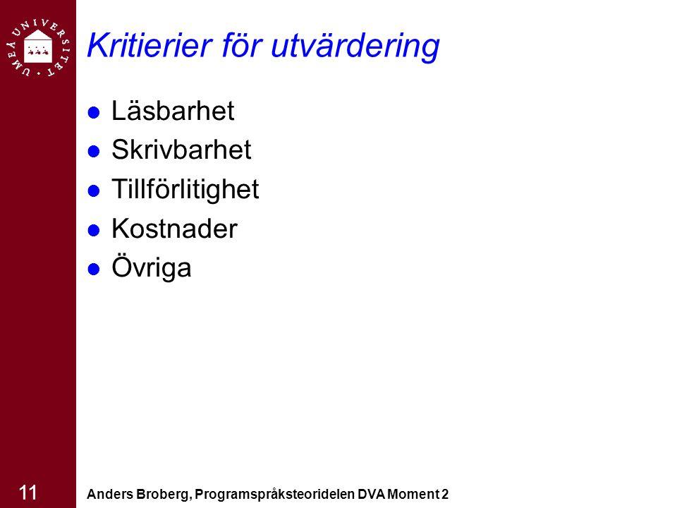 Anders Broberg, Programspråksteoridelen DVA Moment 2 11 Kritierier för utvärdering Läsbarhet Skrivbarhet Tillförlitighet Kostnader Övriga