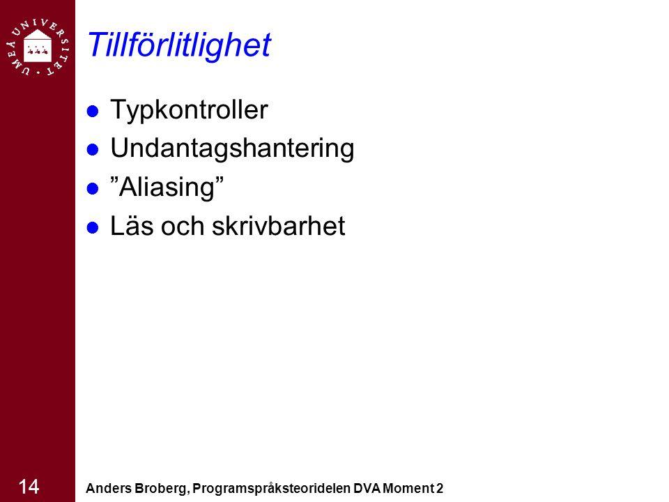 """Anders Broberg, Programspråksteoridelen DVA Moment 2 14 Tillförlitlighet Typkontroller Undantagshantering """"Aliasing"""" Läs och skrivbarhet"""