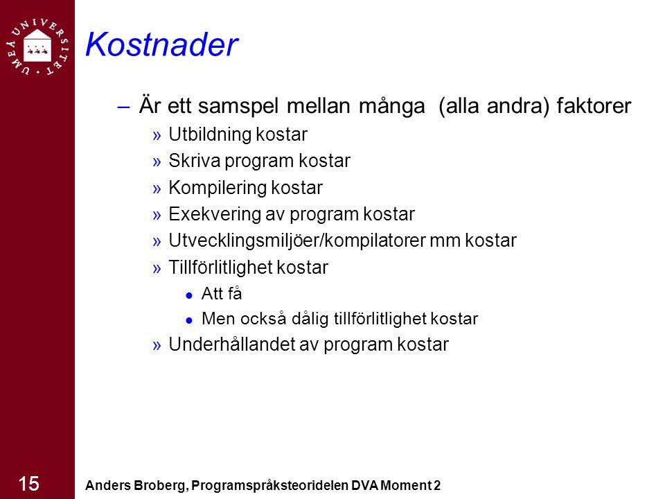Anders Broberg, Programspråksteoridelen DVA Moment 2 15 Kostnader –Är ett samspel mellan många (alla andra) faktorer »Utbildning kostar »Skriva progra