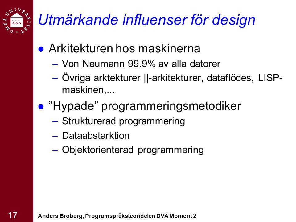 Anders Broberg, Programspråksteoridelen DVA Moment 2 17 Utmärkande influenser för design Arkitekturen hos maskinerna –Von Neumann 99.9% av alla datore