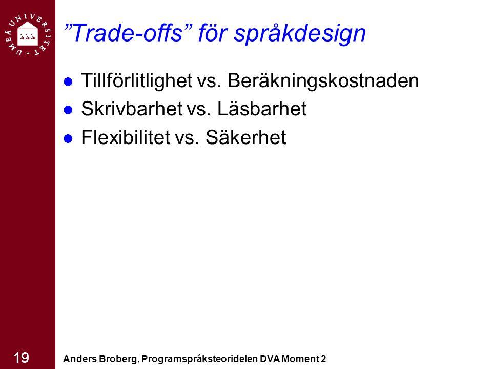 """Anders Broberg, Programspråksteoridelen DVA Moment 2 19 """"Trade-offs"""" för språkdesign Tillförlitlighet vs. Beräkningskostnaden Skrivbarhet vs. Läsbarhe"""