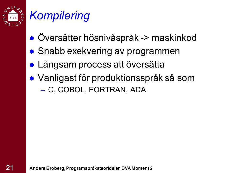 Anders Broberg, Programspråksteoridelen DVA Moment 2 21 Kompilering Översätter hösnivåspråk -> maskinkod Snabb exekvering av programmen Långsam proces