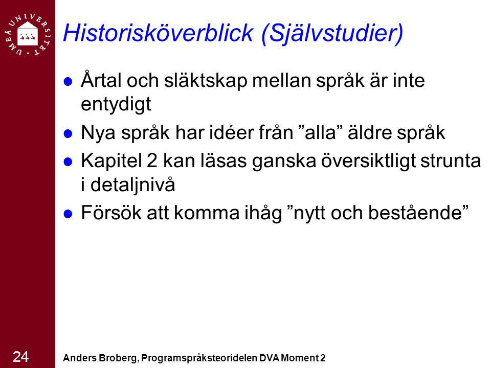Anders Broberg, Programspråksteoridelen DVA Moment 2 24 Historisköverblick (Självstudier) Årtal och släktskap mellan språk är inte entydigt Nya språk