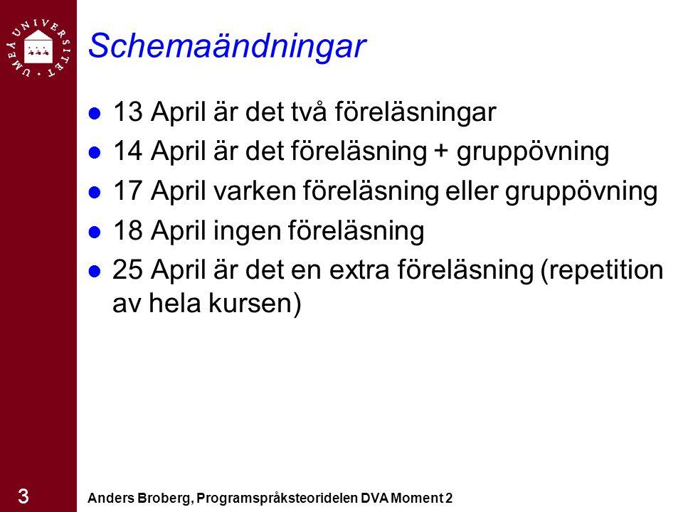 Anders Broberg, Programspråksteoridelen DVA Moment 2 3 Schemaändningar 13 April är det två föreläsningar 14 April är det föreläsning + gruppövning 17