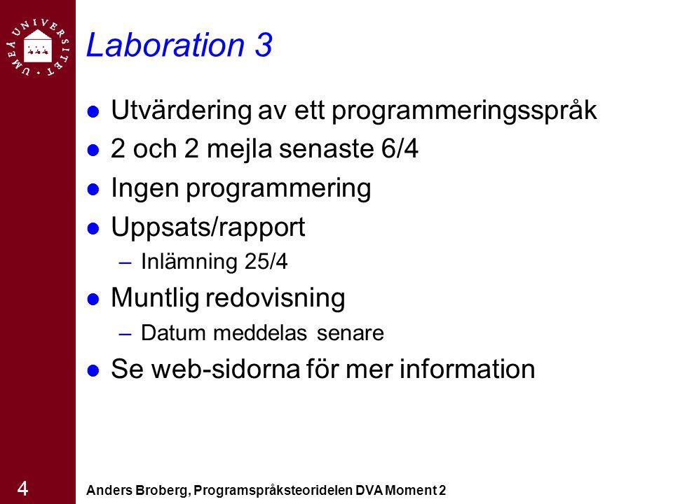 Anders Broberg, Programspråksteoridelen DVA Moment 2 4 Laboration 3 Utvärdering av ett programmeringsspråk 2 och 2 mejla senaste 6/4 Ingen programmeri