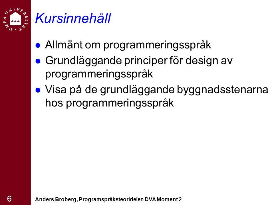 Anders Broberg, Programspråksteoridelen DVA Moment 2 6 Kursinnehåll Allmänt om programmeringsspråk Grundläggande principer för design av programmering