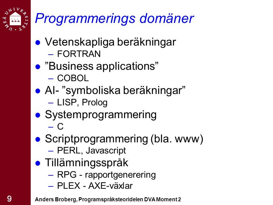 """Anders Broberg, Programspråksteoridelen DVA Moment 2 9 Programmerings domäner Vetenskapliga beräkningar –FORTRAN """"Business applications"""" –COBOL AI- """"s"""