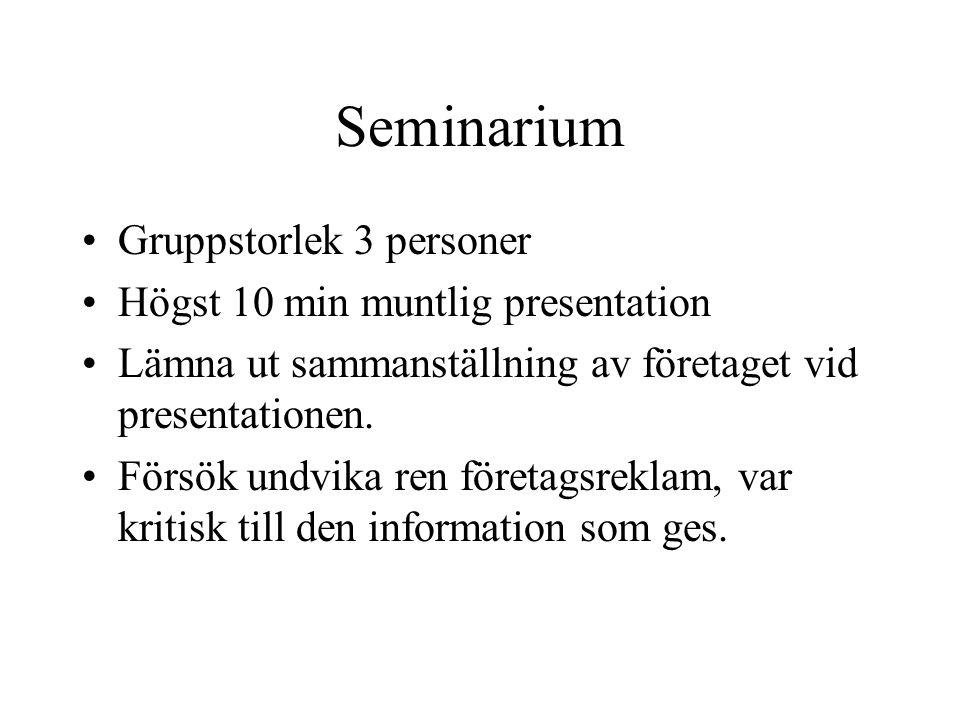 Seminarium Gruppstorlek 3 personer Högst 10 min muntlig presentation Lämna ut sammanställning av företaget vid presentationen.