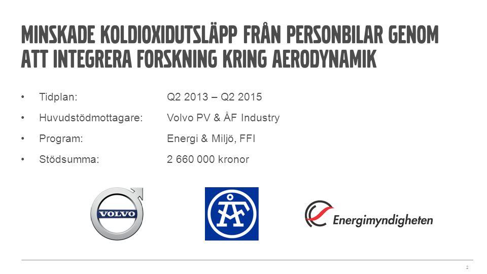 2 Tidplan:Q2 2013 – Q2 2015 Huvudstödmottagare: Volvo PV & ÅF Industry Program: Energi & Miljö, FFI Stödsumma:2 660 000 kronor Minskade koldioxidutslä