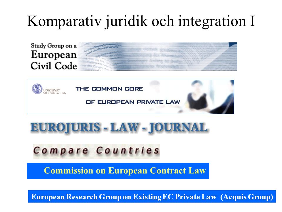 Komparativ juridik och integration I Commission on European Contract Law European Research Group on Existing EC Private Law (Acquis Group)