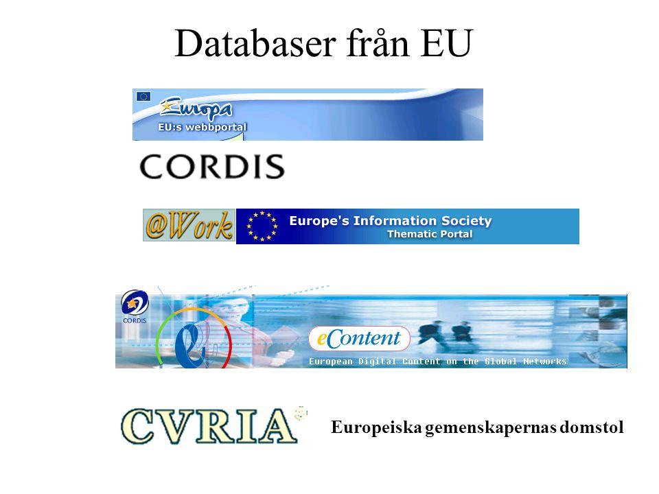Databaser från EU Europeiska gemenskapernas domstol