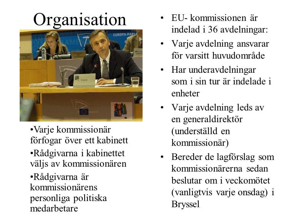 Organisation EU- kommissionen är indelad i 36 avdelningar: Varje avdelning ansvarar för varsitt huvudområde Har underavdelningar som i sin tur är indelade i enheter Varje avdelning leds av en generaldirektör (underställd en kommissionär) Bereder de lagförslag som kommissionärerna sedan beslutar om i veckomötet (vanligtvis varje onsdag) i Bryssel Varje kommissionär förfogar över ett kabinett Rådgivarna i kabinettet väljs av kommissionären Rådgivarna är kommissionärens personliga politiska medarbetare