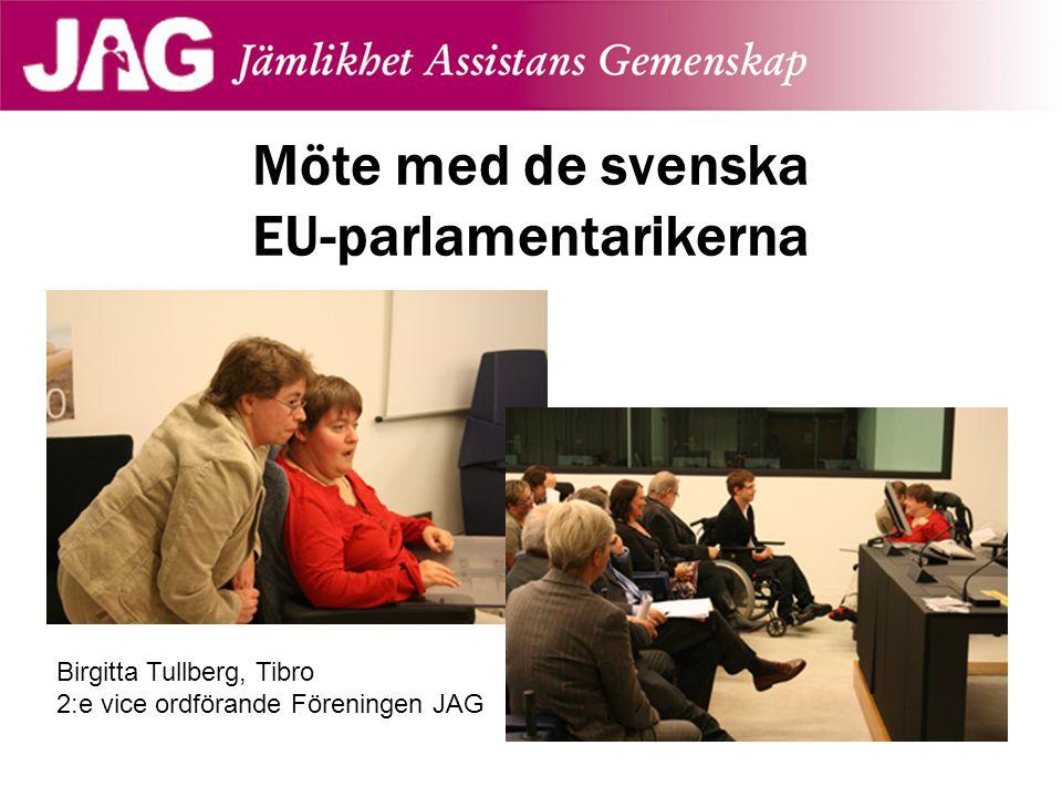 Möte med de svenska EU-parlamentarikerna Birgitta Tullberg, Tibro 2:e vice ordförande Föreningen JAG