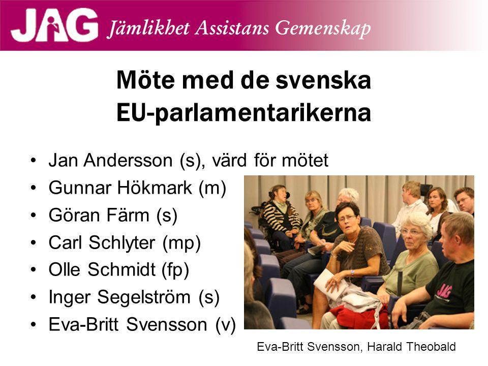 Jan Andersson (s), värd för mötet Gunnar Hökmark (m) Göran Färm (s) Carl Schlyter (mp) Olle Schmidt (fp) Inger Segelström (s) Eva-Britt Svensson (v) M