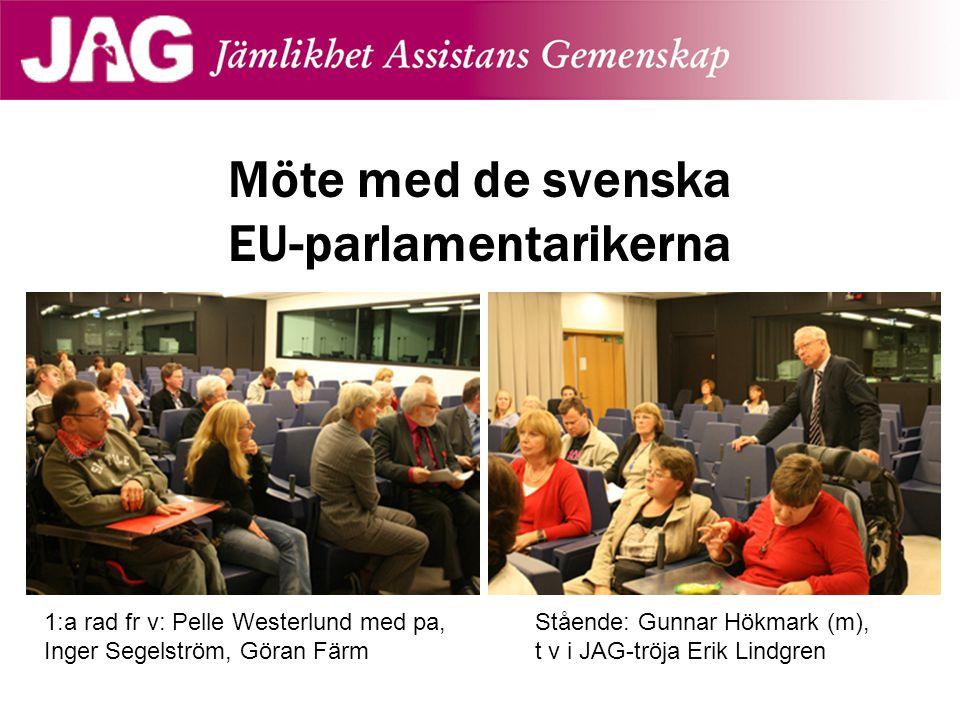 Möte med de svenska EU-parlamentarikerna 1:a rad fr v: Pelle Westerlund med pa, Inger Segelström, Göran Färm Stående: Gunnar Hökmark (m), t v i JAG-tr
