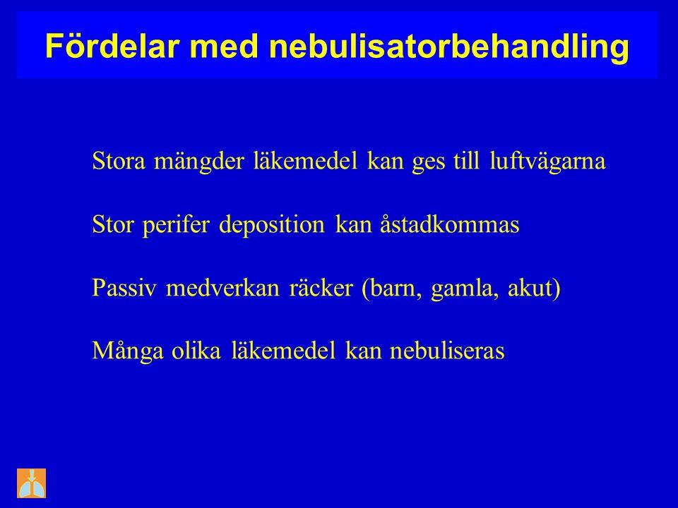 Fördelar med nebulisatorbehandling Stora mängder läkemedel kan ges till luftvägarna Stor perifer deposition kan åstadkommas Passiv medverkan räcker (b